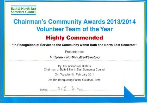 Certificate BANES - Chairmans Award